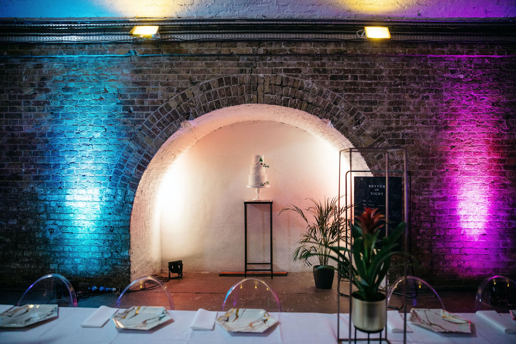 Shoreditch Studios railway arch housing cool tiered wedding cake