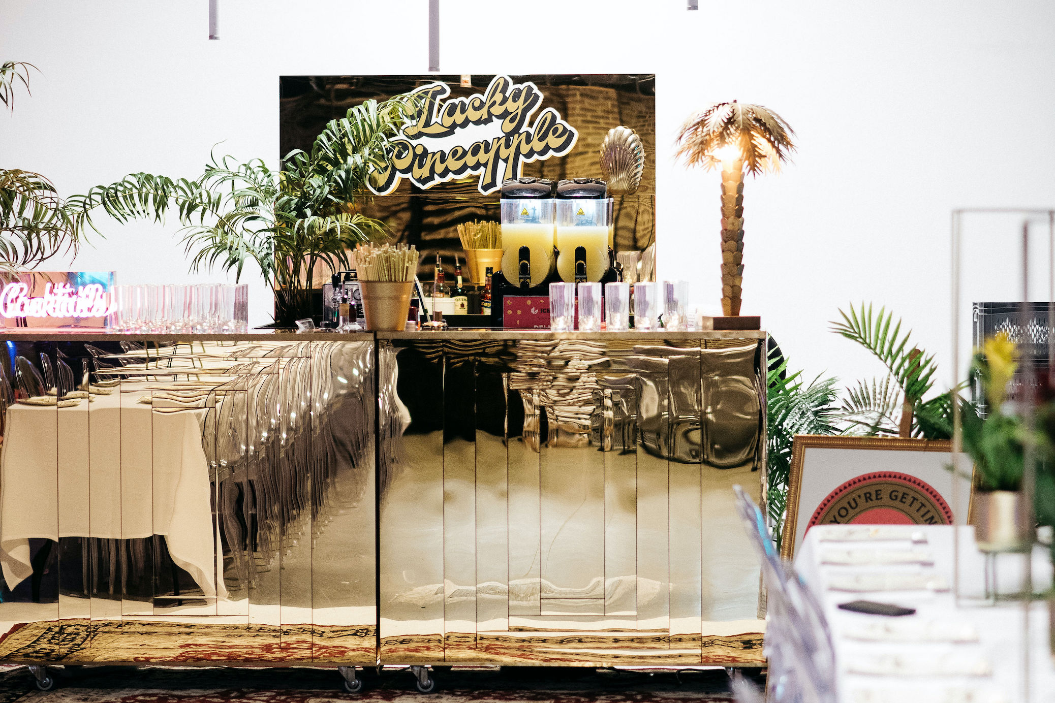 Lucky Pineapple Gold mirrored bar setup at Shoreditch Studios