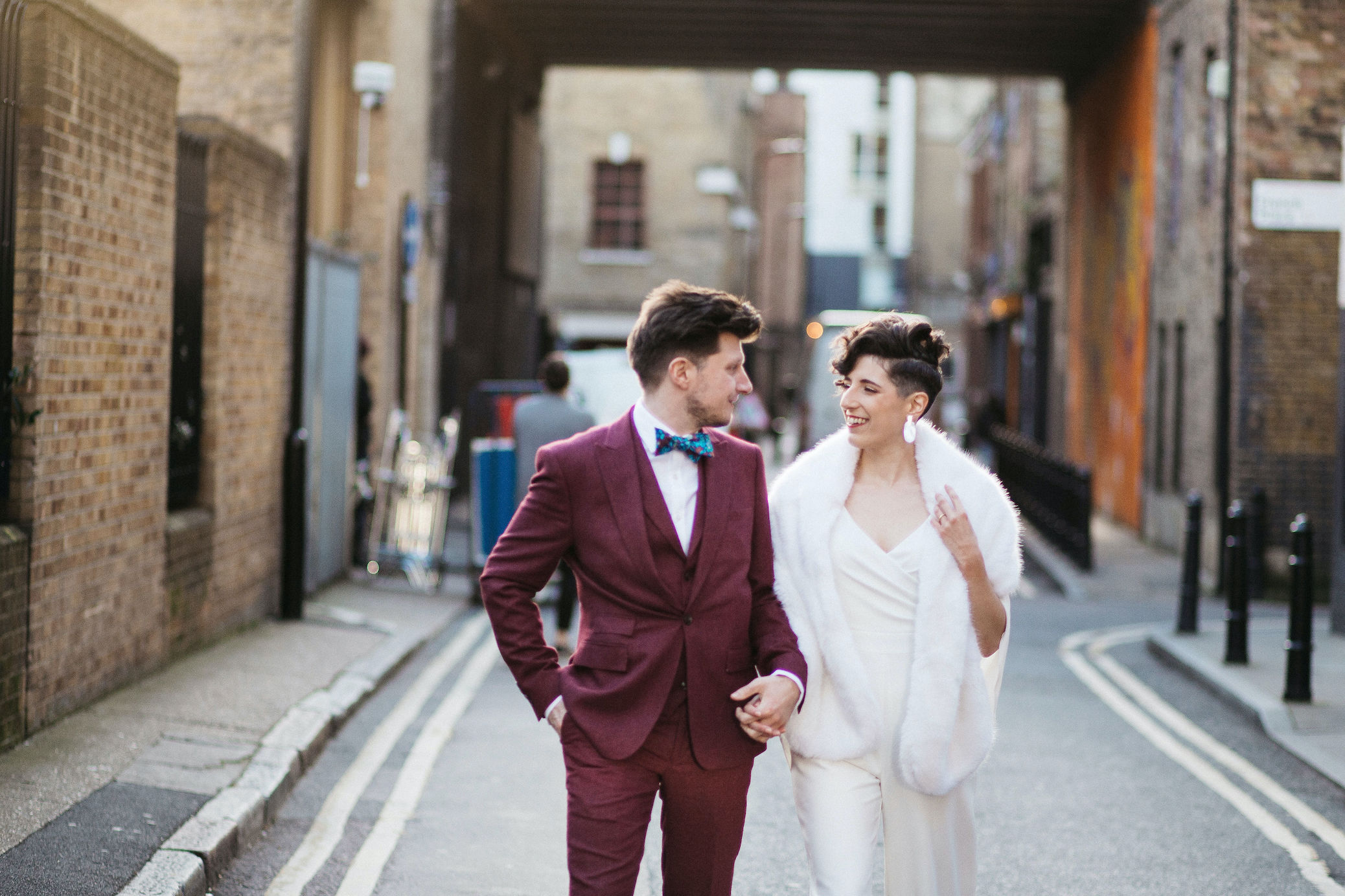 Bride and Groom in Shoreditch streets