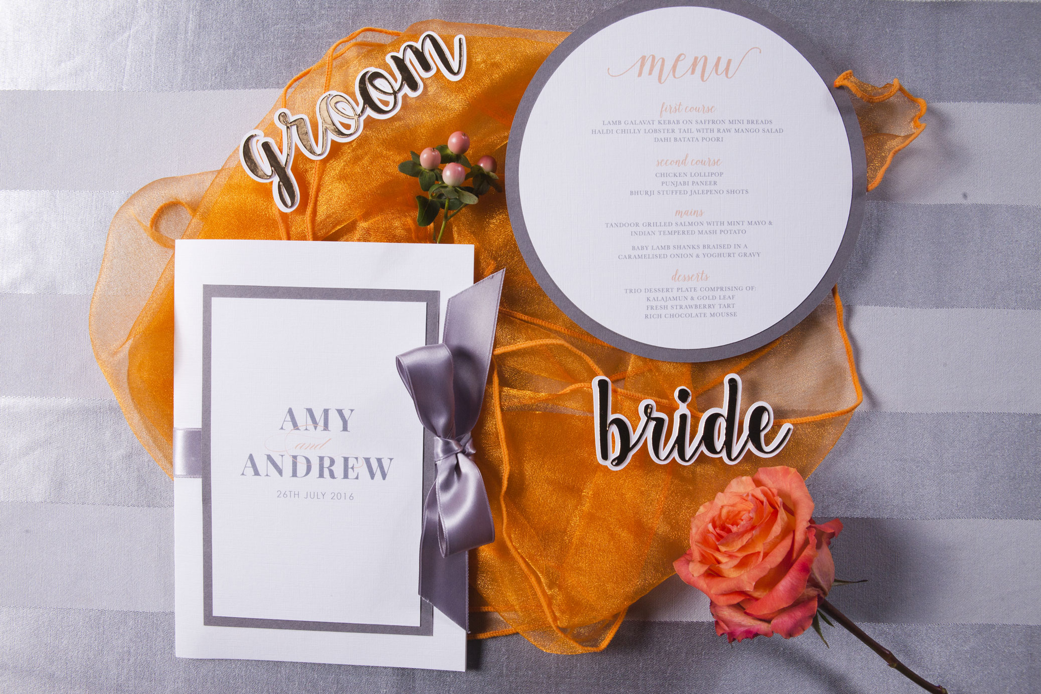 Pantone's Cadmium Orange and Stormy Weather wedding stationery