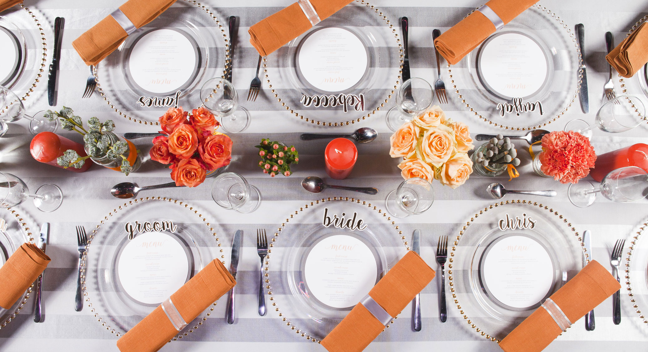 Pantone's Cadmium Orange and Stormy Weather table setting