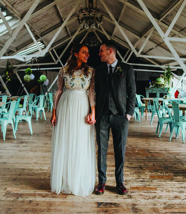 Just married couple at Dalston Heights wedding venue